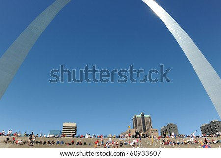 SAINT LOUIS, MISSOURI - SEPTEMBER 12: People starts gathering for the rally of the Tea Party Patriots in Downtown Saint Louis under the Arch, on September 12, 2010 - stock photo