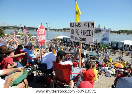 SAINT LOUIS, MISSOURI - SEPTEMBER 12: Rally of the Tea Party Patriots in Downtown Saint Louis under the Arch, on September 12, 2010 - stock photo