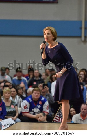 Saint Louis, MO, USA - March 12, 2016: Carly Fiorina stumps for Presidential candidate Ted Cruz as she spoke to a packed out crowd in the Parkway West High School gymnasium.
