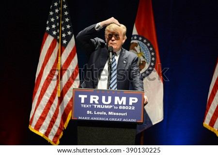 Saint Louis, MO, USA - March 11, 2016: Donald Trump looks at heckler during speech at the Peabody Opera House in Downtown Saint Louis. - stock photo