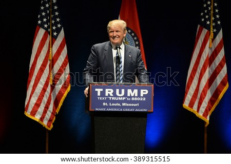 Saint Louis, MO, USA - March 11, 2016: Donald Trump smiles to supporters at the Peabody Opera House in Downtown Saint Louis - stock photo