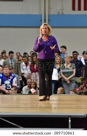 Saint Louis, MO, USA - March 12, 2016: Missouri Representative Ann Wagner stumped for Republican presidential candidate Ted Cruz at Parkway West High School. - stock photo