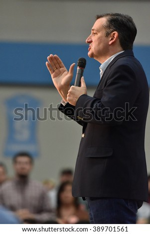 Saint Louis, MO, USA - March 12, 2016: Republican presidential candidate Ted Cruz spoke to a standing-room-only crowd in the Parkway West High School gymnasium.
