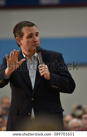 Saint Louis, MO, USA - March 12, 2016: Republican presidential candidate Ted Cruz spoke to a standing-room-only crowd in the Parkway West High School gymnasium. - stock photo