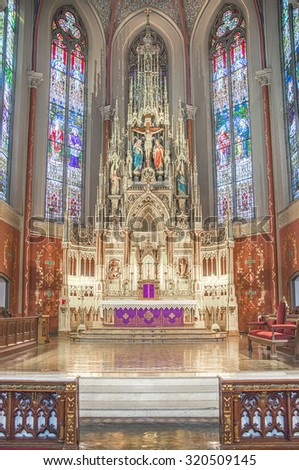 Saint Louis, United States-March 11, 2015: Alter at St. Frances DeSales Oratory - an example of German gothic revival architecture located in south St. Louis city. - stock photo