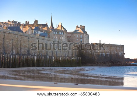 Saint Malo (Brittany - France) from the sea. horizontal shot - stock photo