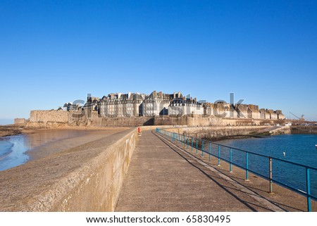 Saint Malo (Brittany - France) from the wharf.horizontal shot - stock photo