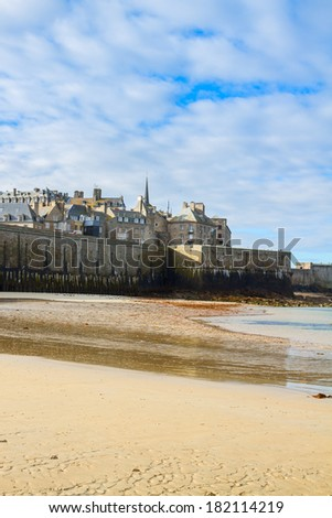 Saint-Malo City Wall and old town - Intramuros , Brittany, France - stock photo