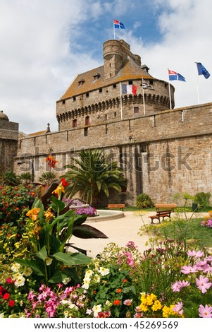 Saint-Malo City Wall & Guard Tower, Brittany, France. - stock photo