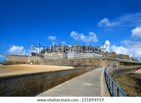 Saint Malo city walls, Brittany, France, Europe - stock photo
