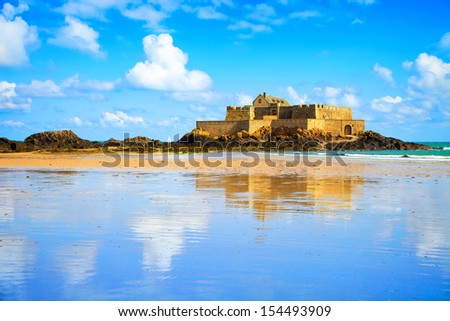 Saint Malo, Fort National and beach during Low Tide. Brittany, France, Europe. - stock photo