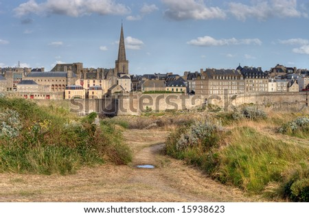 Saint Malo, France from the island of Le Grand Be'. - stock photo