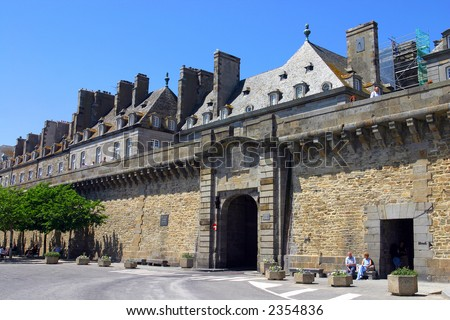 Saint Malo's city walls. France - stock photo