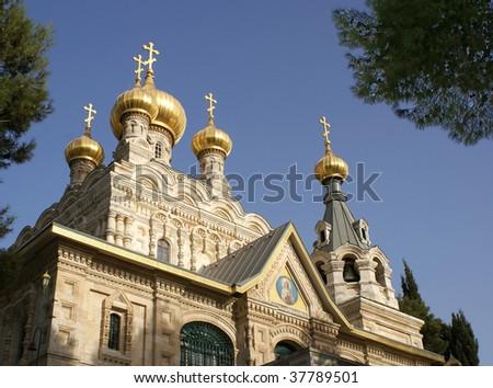 Saint Maria Magdalena church in orthodox monastery. Jerusalem - stock photo