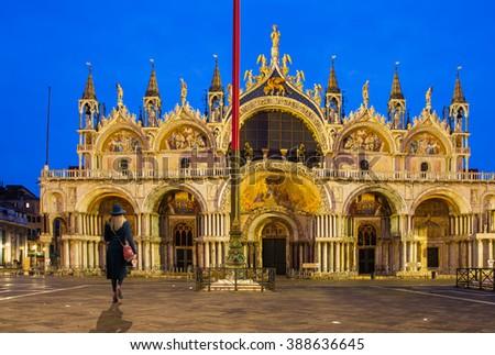 Saint Marks Basilica, Cathedral, Church Statues Mosaics Venice Italy - stock photo