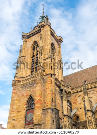 Saint Martin church in Colmar, France, the Roman Catholic church with Gothic architecture, under cloudy sky