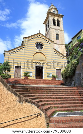 Saint Martin church in Portofino, Italia - stock photo