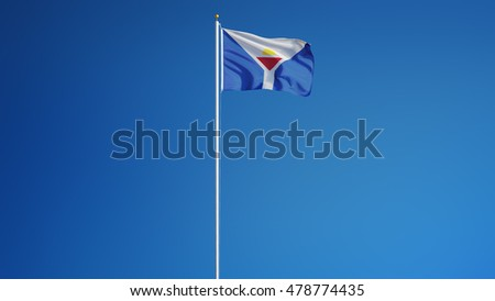 Saint Martin flag waving against clean blue sky, long shot, isolated with clipping path mask alpha channel transparency digital composition
