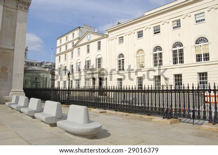 Saint Martin in the Fields church yard and vestry hall in London, England - stock photo