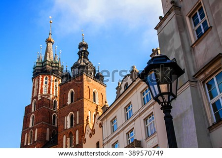 Saint Mary Basilica and Sukiennice town market square in Krakow