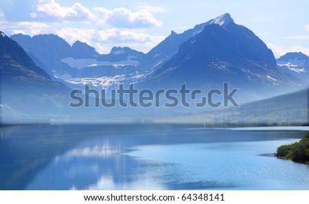 Saint Mary Lake - stock photo