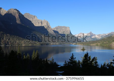 Saint Mary Lake Glacier NAtional Park Montana - stock photo