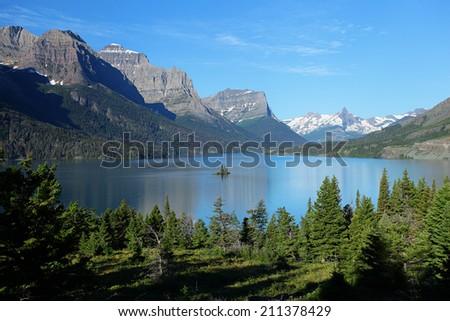 Saint Mary Lake in Glacier National Park - stock photo