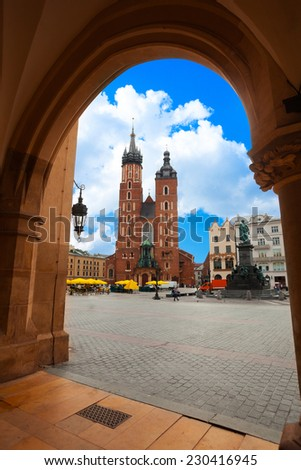 Saint Mary's Basilica and Rynek Glowny (main square) Krakow, Poland - stock photo