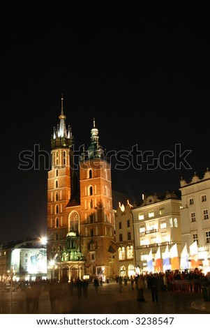 Saint Mary's church by night, Krakow