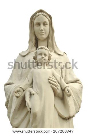 Saint Mary with Jesus, isolated illustration - stock photo