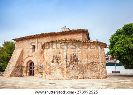 Saint Michael church in Calafell town, Spain. It is a work of transaction from Romanic to Gothic style, was shaped in XIII century, has two apses, one consecrated to St. Miahael, another to St. Mary