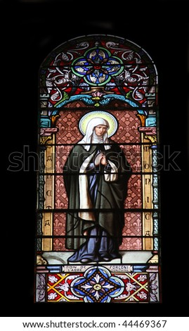 Saint Monica, stained glass in the Cathedral of St Vincent de Paul in Tunis