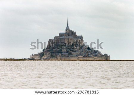 Saint mount Michel during high tide march 2015 - stock photo
