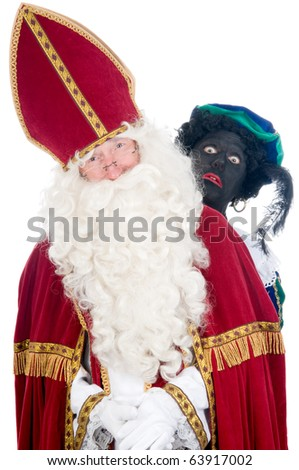 Saint Nicholas and his helper - stock photo