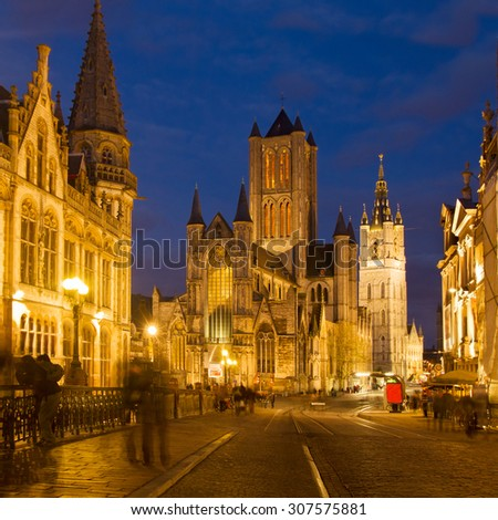 Saint Nicholas Church and Belfry tower, one of famous landmarks of Ghent, Gent in Flanders, Belgium - stock photo