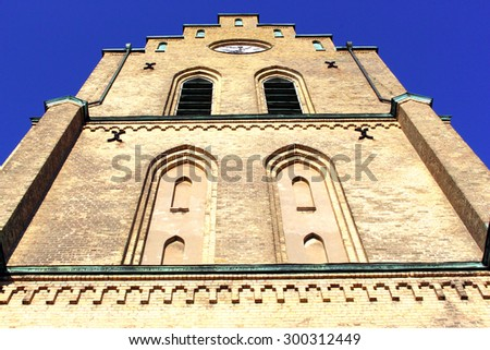 Saint-Nicholas church, city of Halmstad, Sweden - stock photo