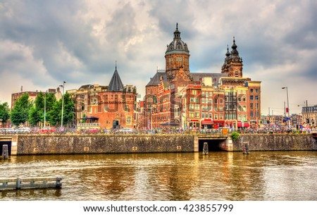 Saint Nicholas Church in Amsterdam - Netherlands. It is the city's major Catholic church. - stock photo