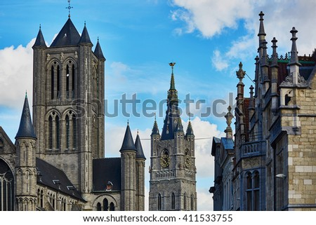 Saint Nicholas' Church in Ghent, Belgium - stock photo