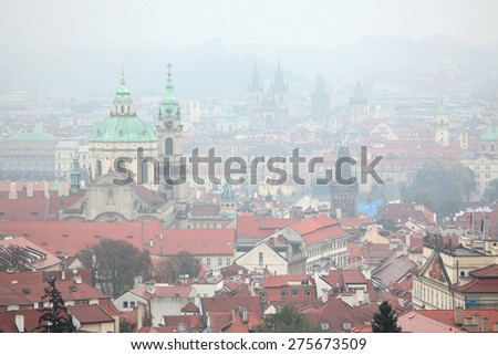 Saint Nicholas Church in Mala Strana and the Tyn Church in Old Town Square viewed from Petrin Hill in Prague, Czech Republic. - stock photo