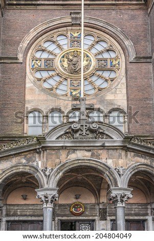 Saint Nicholas Church (Sint Nicolaaskerk), Amsterdam, Netherlands. It is the city's major Catholic church. Designed by architect Adrianus Bleijs, the church was built between 1884 and 1887.
