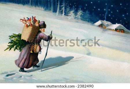 Saint Nicholas on a moonlit Christmas eve journeying to the next home delivery - a circa 1908 vintage German illustration.