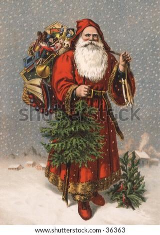 "Saint Nicholas (the original ""Santa"") - an early 1900s vintage illustration. - stock photo"