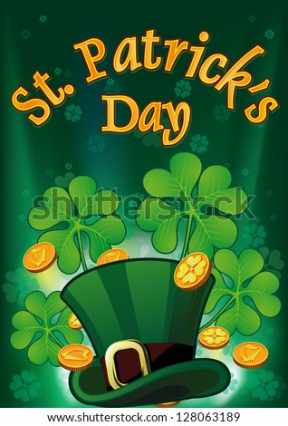 Saint Patric Days Placard with hat, clover and treasure. Raster version - stock photo