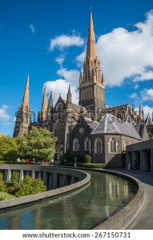 Saint Patrick cathedral the biggest church in Melbourne, Australia. - stock photo