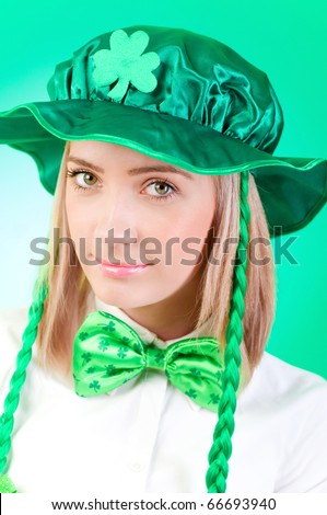 Saint Patrick day concept with young girl - stock photo