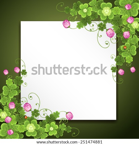 Saint Patrick's Day background with clover - stock photo