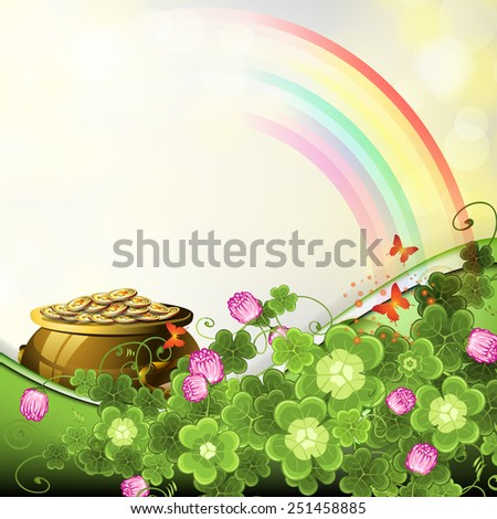 Saint Patrick's Day illustration with pot of coins - stock photo