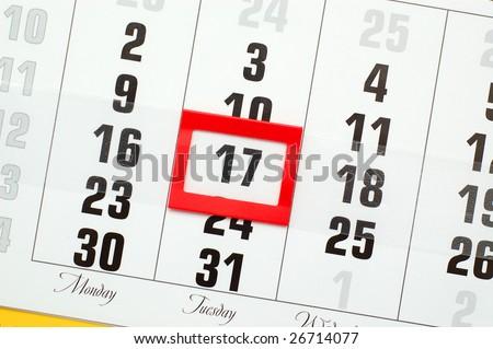 Saint Patrick's Day in calendar - stock photo