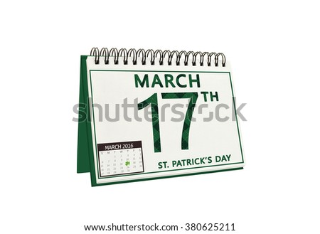 Saint Patrick's Day 17 March 2016 Calendar isolated on white background