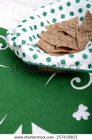 Saint Patrick's Day snack on green placemat - stock photo